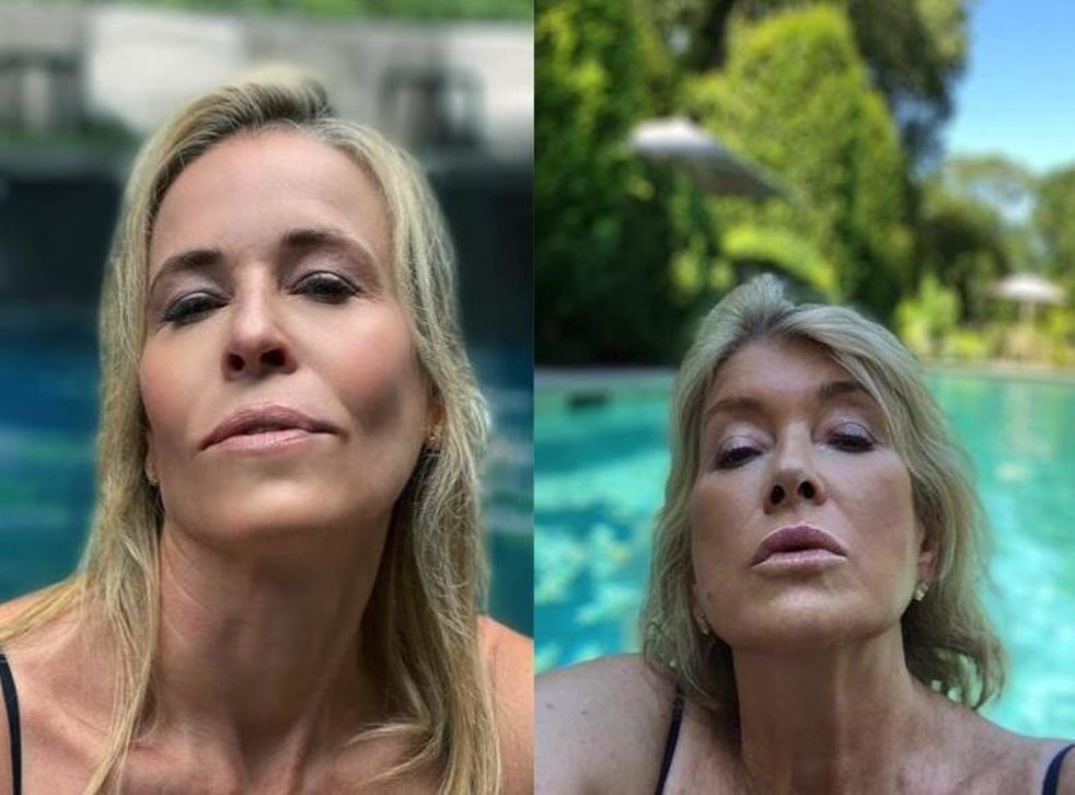 Martha Stewart Critiques Chelsea Handler S Recreation Of Her Viral Pool Selfie My Facial Expression Is A Bit More Relaxed The Independent The Independent