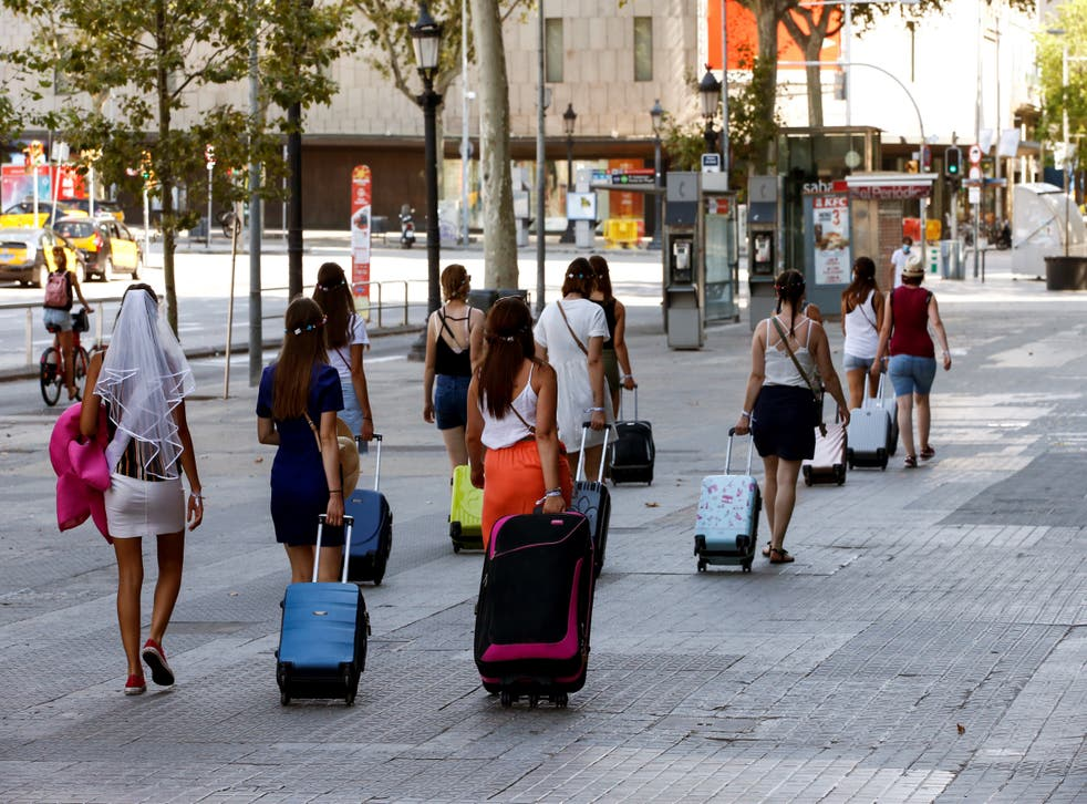 A tourist party in Barcelona