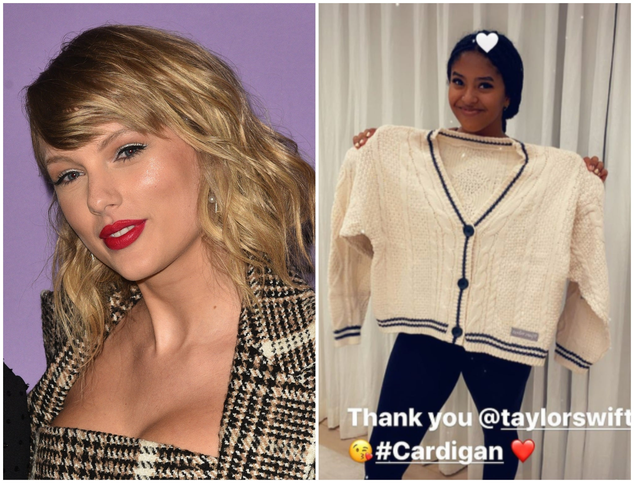 Taylor Swift Sends Folklore Cardigan To Kobe Bryant S Daughter Natalia The Independent The Independent