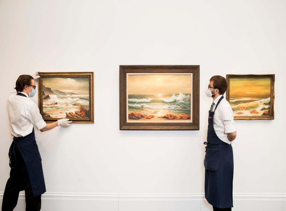 Banksy donó unas pinturas a la subasta benéfica que tendrá lugar en la casa Sotheby's