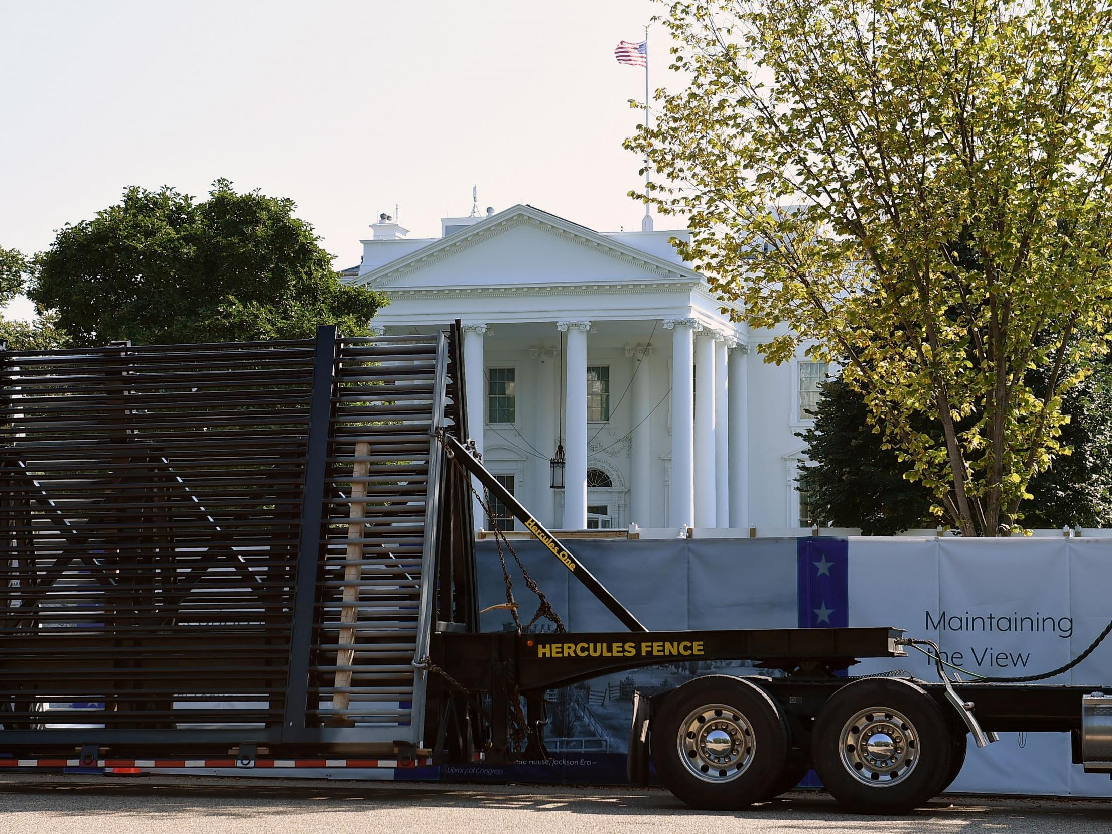 White House continues building 13-foot high 'anti climb' wall after protests thumbnail