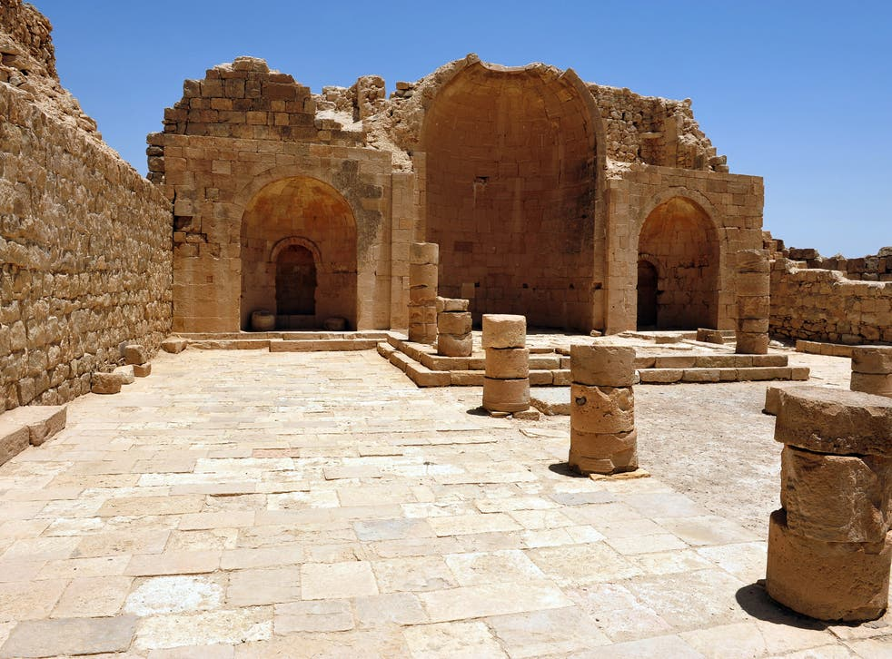 Remains of the Byzantine city of Shivta in the Negev desert in southeastern Israel
