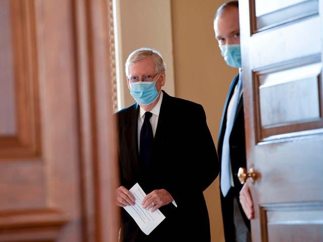 Senate Majority Leader Mitch McConnell, who announced latest coronavirus stimulus plans on Monday
