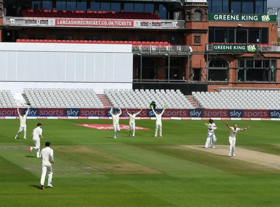 England celebrate at Old Trafford on the final day of their third Test against West Indies