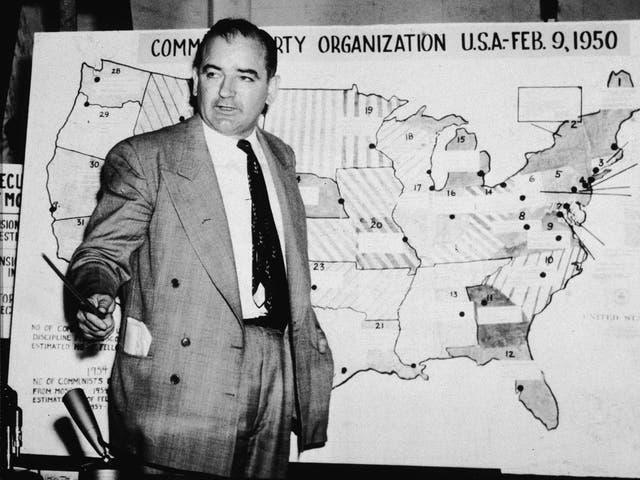 The Republican senator from Wisconsin testifies against the US army during the Army-McCarthy hearings in June 1954