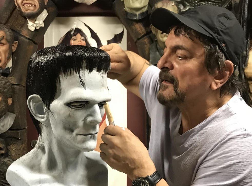 Savini hard at work on a Frankenstein's monster prosthetic