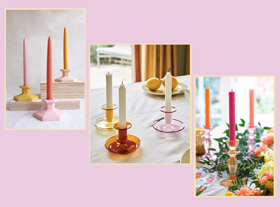 Dress up your mantelpieces and windowsills with a colourful candlestick holder