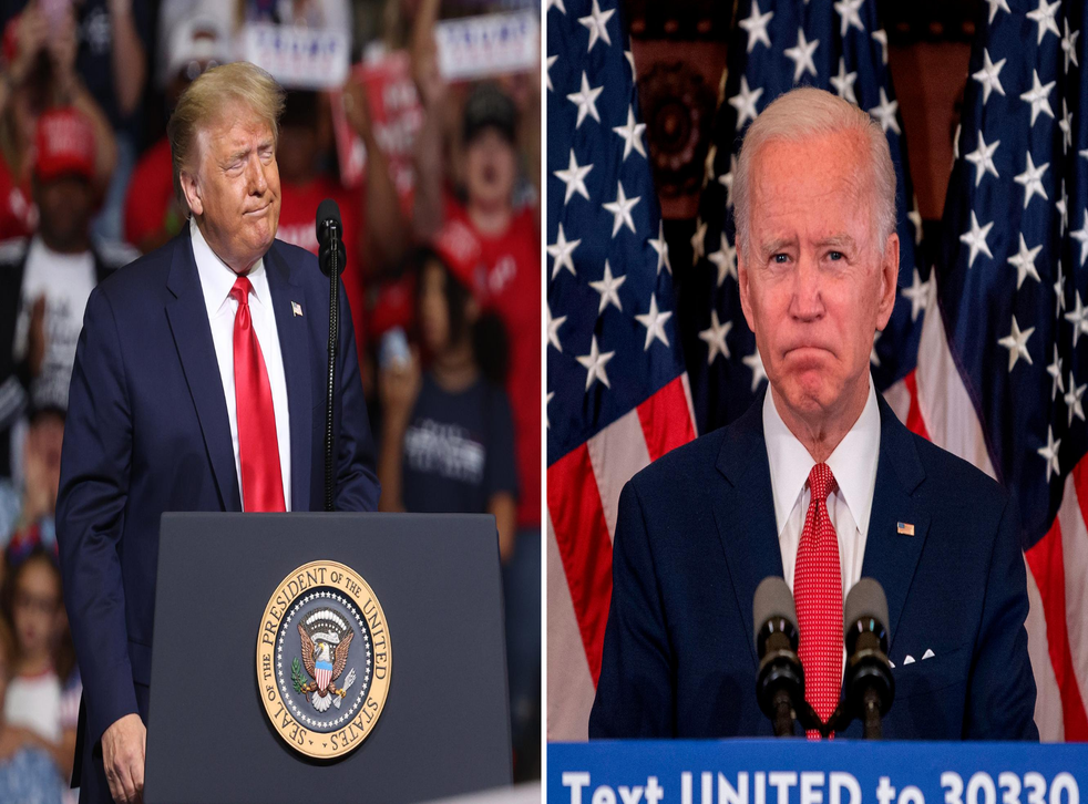 Donald Trump, left, has questioned the mental fitness of Democratic presidential nominee Joe Biden, who has denied claims he is senile.