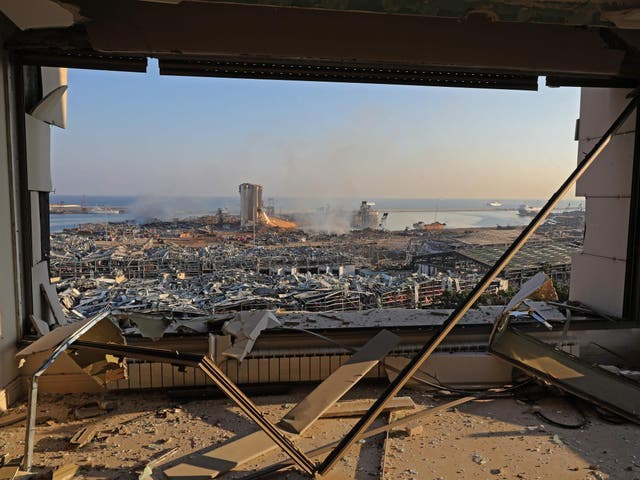 A view shows the aftermath of the blast at the port of Lebanon's capital Beirut, on 5 August 2020