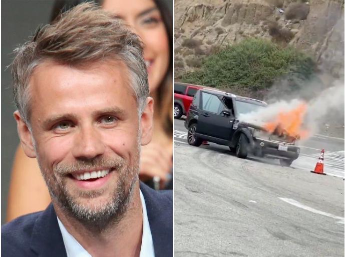 Richard Bacon shares dramatic video of his car going up in flames in LA
