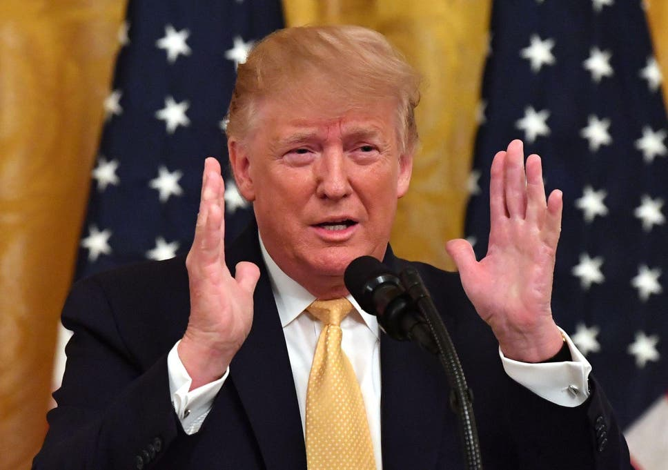 US President Donald Trump gestures as he speaks at the Presidential Social Media Summit at the White House in Washington, DC, on July 11, 2019