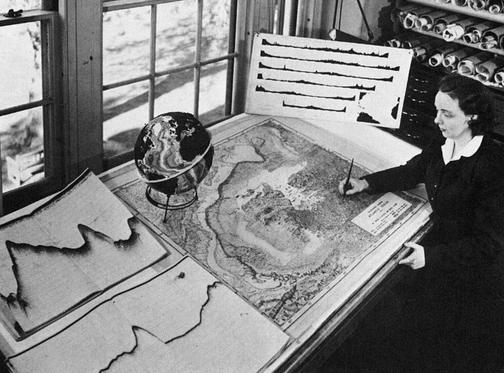 Marie Tharp at work on a map of the Atlantic Ocean's floor in the early 1950s