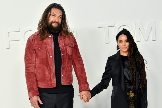 Jason Momoa and Lisa Bonet attend a fashion show on 7 February 2020 in Hollywood, California.
