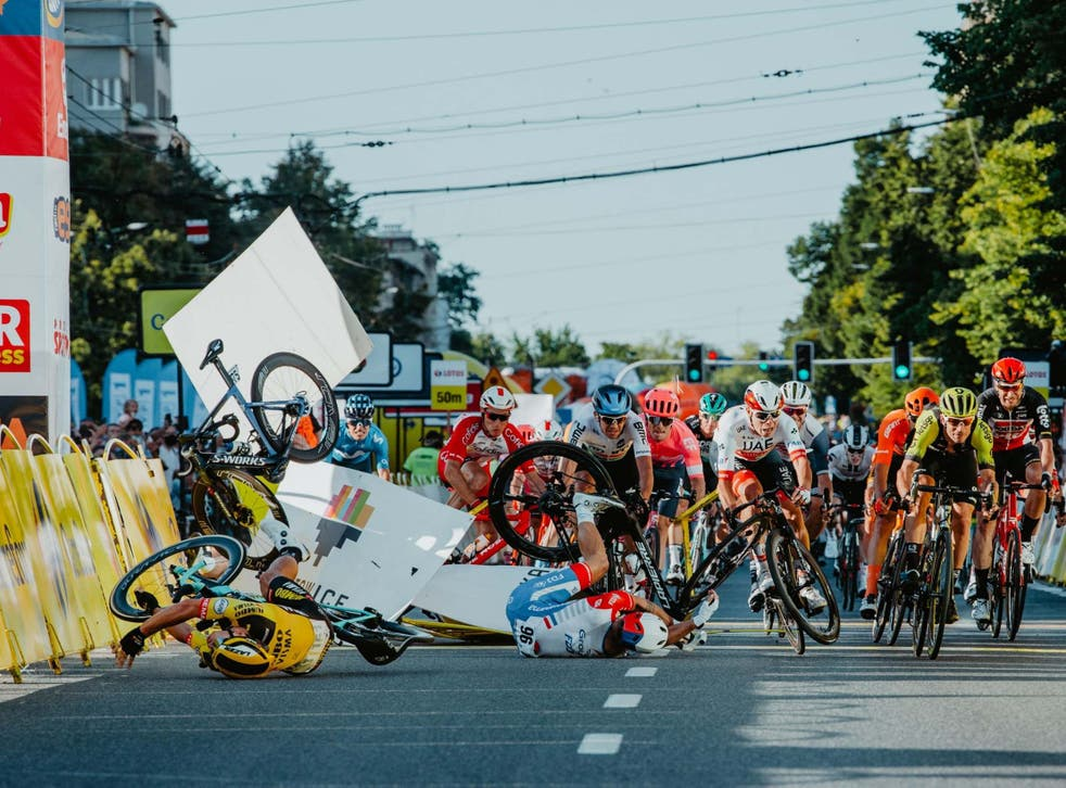 Fabio Jacobsen suffered serious injuries in a crash on the Tour of Poland