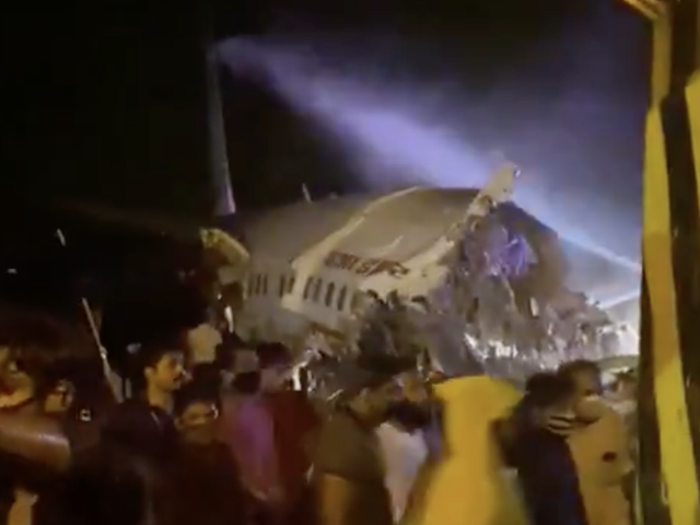 The fuselage of the plane was split in two after the jet slipped off the runway