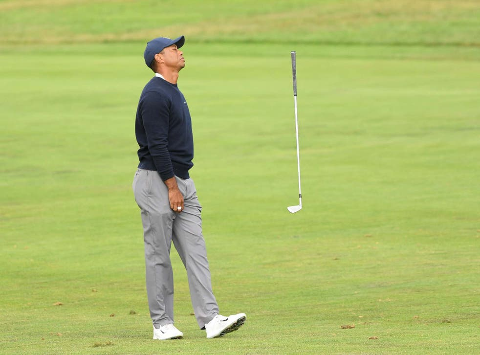 Tiger Woods reacts on the 13 hole at TPC Harding Park