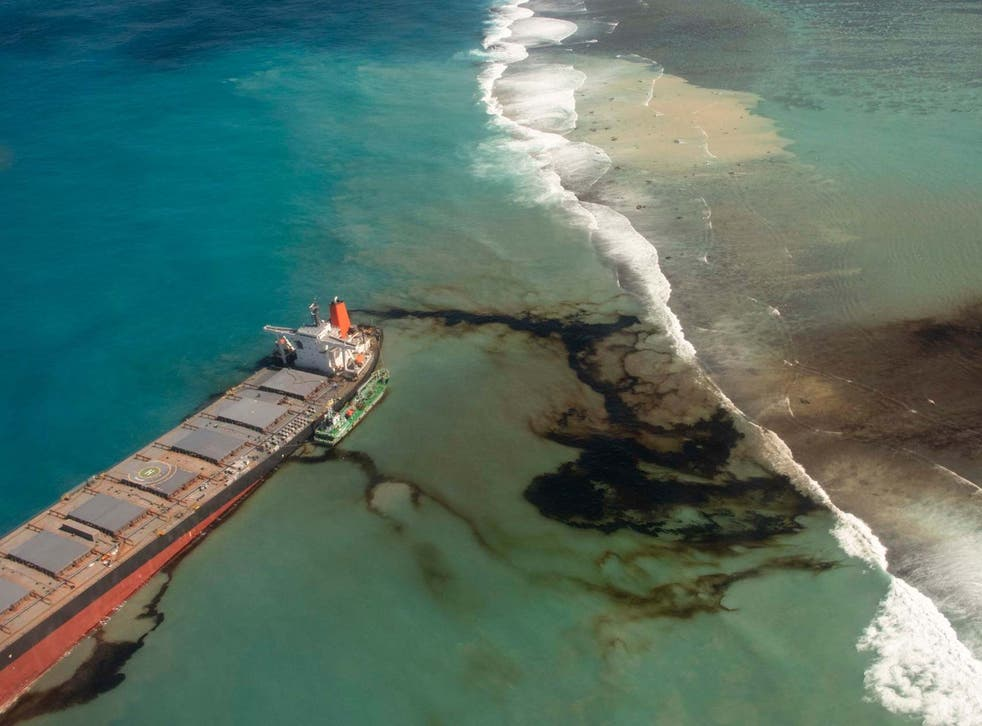 Oil leaks from the MV Wakashio, a bulk carrier ship that recently ran aground off the southeast coast of Mauritius
