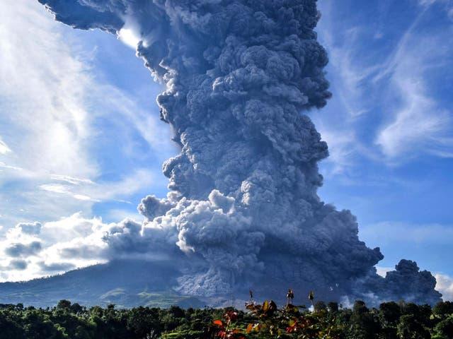 File photo of Mount Sinaberg erupting in June 2019