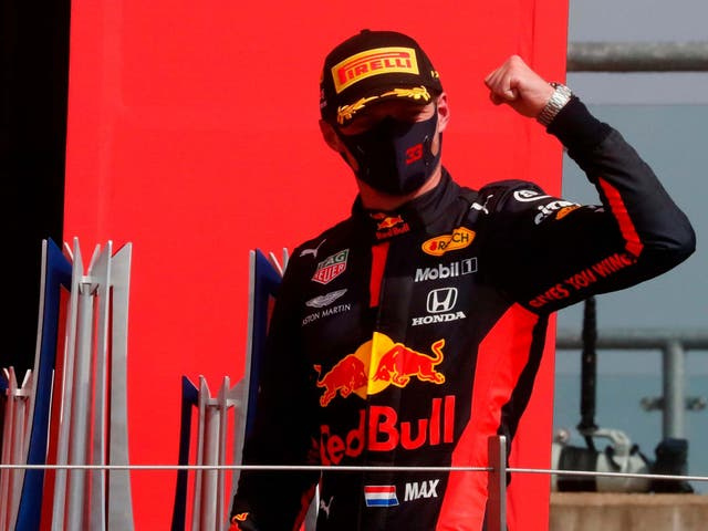 Max Verstappen celebrates winning the 70th Anniversary Grand Prix