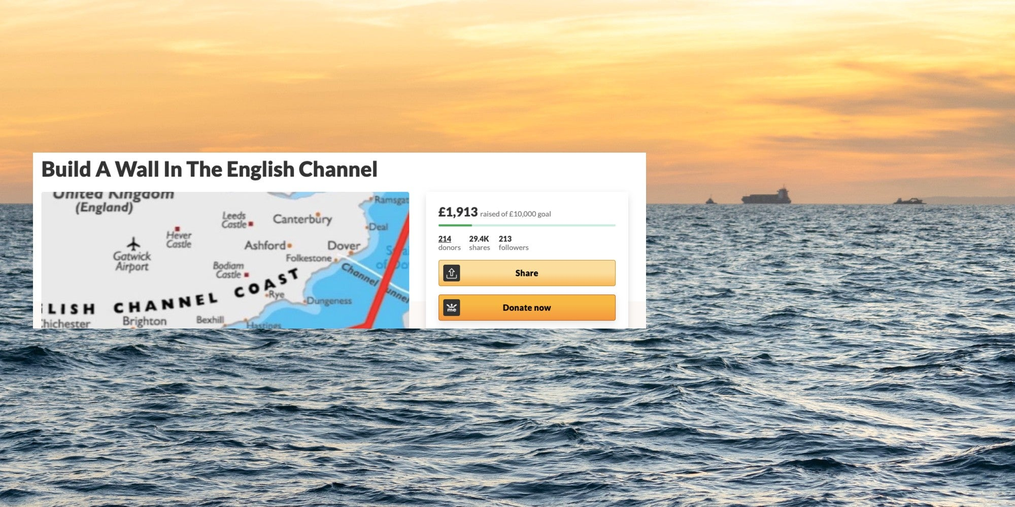 People are donating money to build a Trump-style 'wall in the English channel' - but there's a big twist
