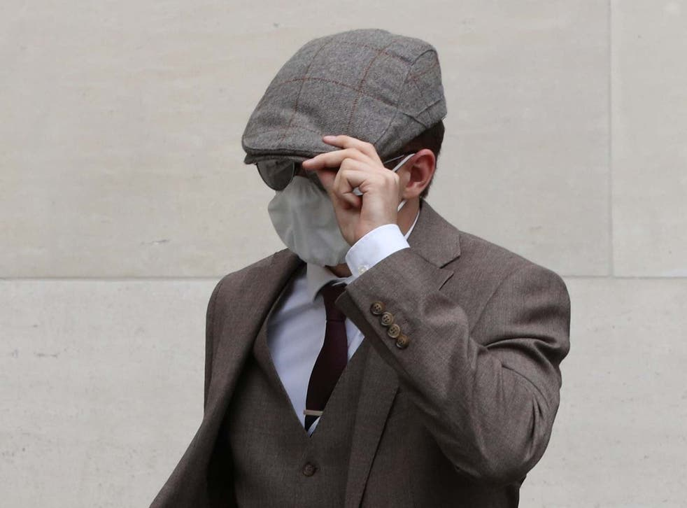 Probationary Metropolitan Police officer Benjamin Hannam, 22, leaves Westminster Magistrates' Court on 6 August