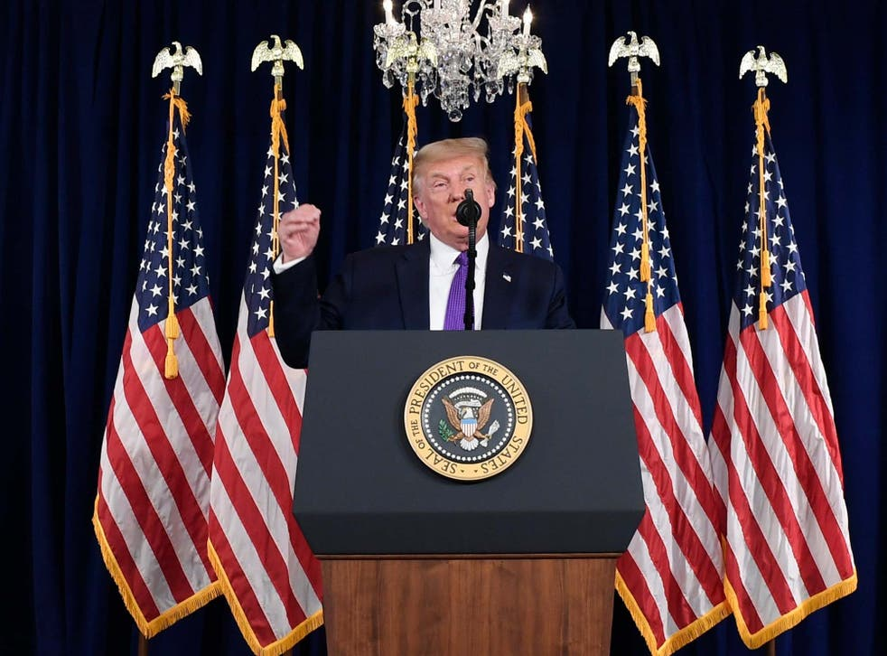President Trump speaks during a news conference at his Trump National Golf Club in Bedminster, New Jersey on Saturday
