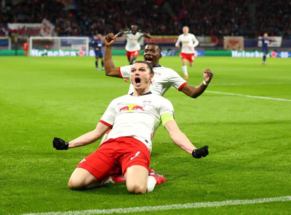 RB Leipzig captain Marcel Sabitzer celebrates scoring against Tottenham