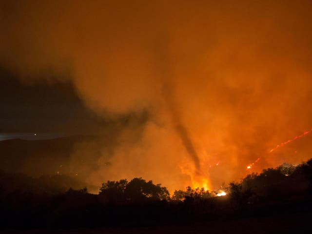 The National Weather Service issued a tornado warning near Reno, Nevada, after a fire tornado appeared from the forest fires