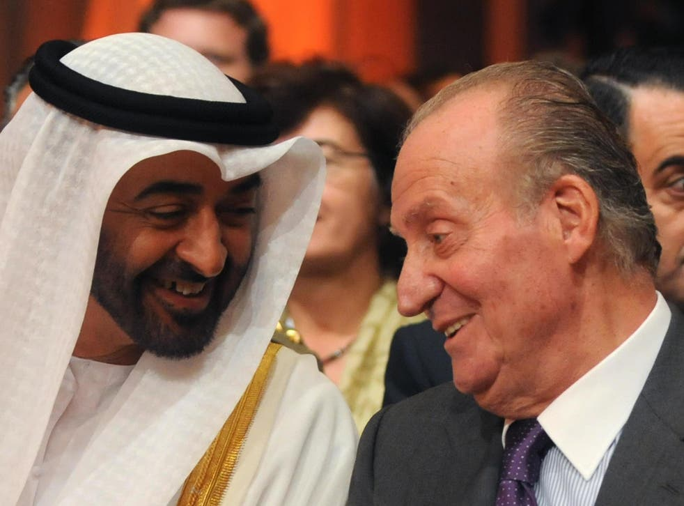 Juan Carlos (right) is seen with the crown prince of Abu Dhabi, Sheikh Mohammed bin Zayed Al Nahyan in 2011