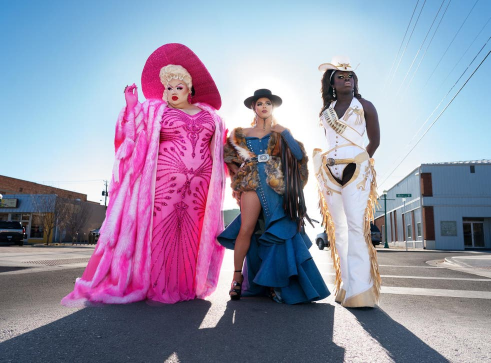 From left: drag queens Eureka O'Hara, Shangela Laquifa Wadley and Bob the Drag Queen on 'We're Here'