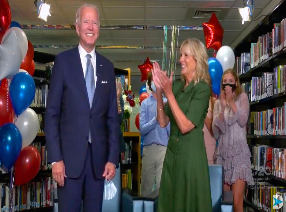 Joe Biden is applauded by his wife Jill and family members after being officially nominated as the Democratic presidential candidate at the DNC on 18 August, 2020