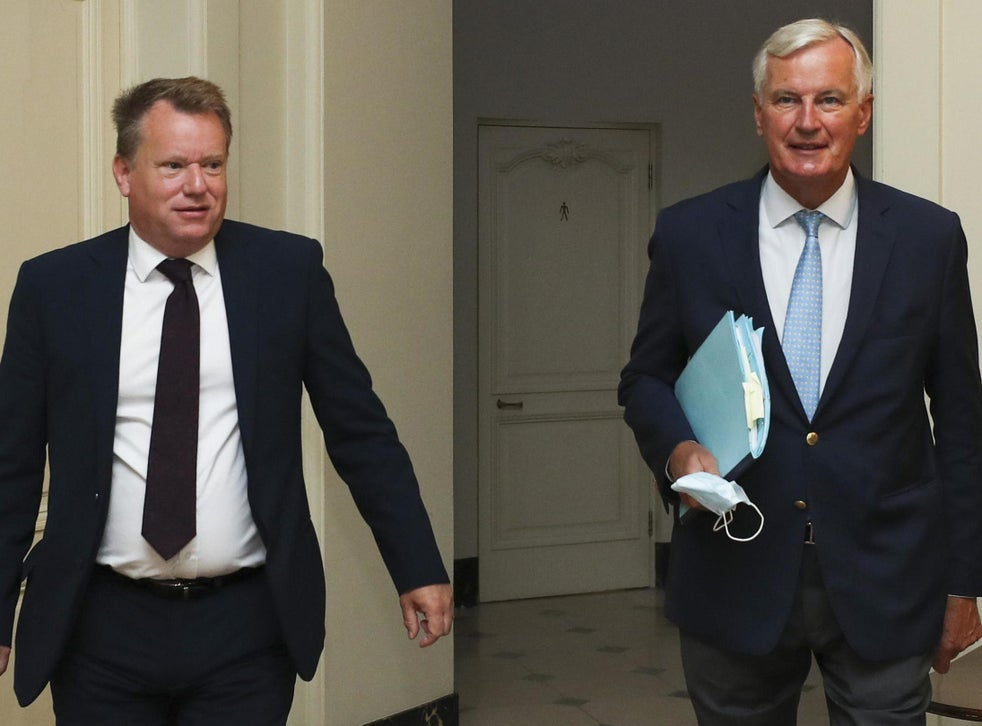 David Frost and Michel Barnier together in Brussels on 21 August