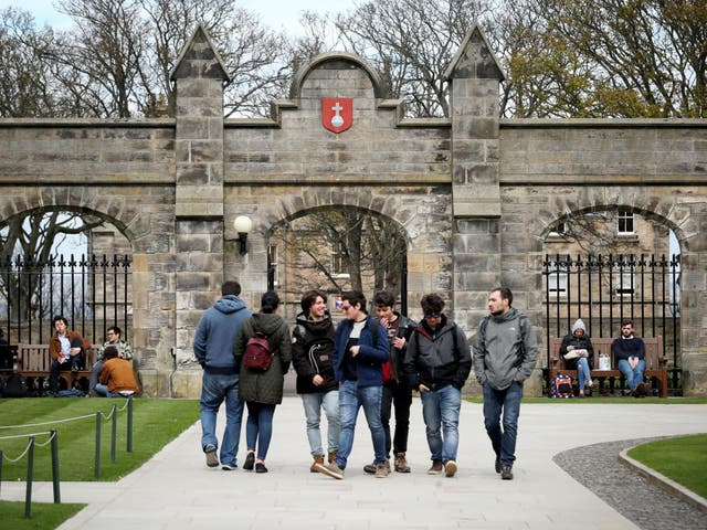 Students gather at University of St Andrews prior to the coronavirus pandemic