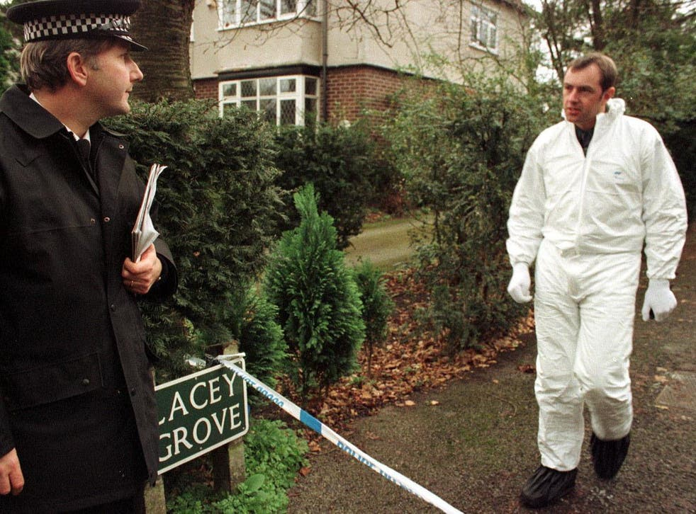 Forensic work underway at the home of Auriel and Donald Ward, which may have been the scene of the second in a series of double murders
