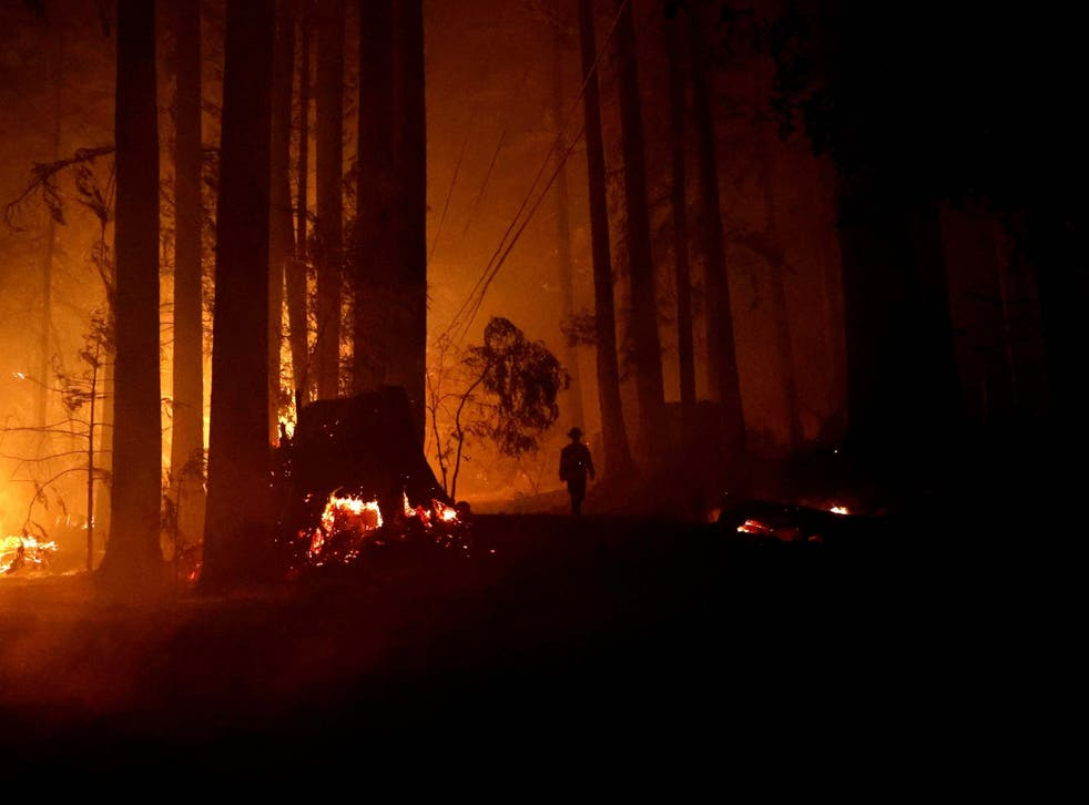 A firefighter walks along a road with fire on both sides during the CZU Lightning Complex Fire in Boulder Creek, California on Friday