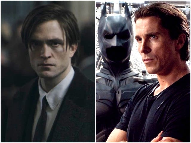 Robert Pattinson in 'The Batman', and Christian Bale in 'The Dark Knight Rises'