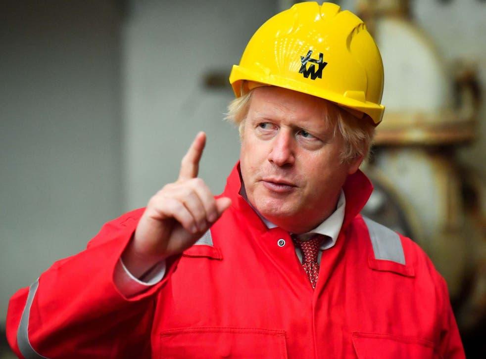 Boris Johnson visits Appledore Shipyard in Devon yesterday