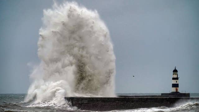 Giant waves at Seaham in County Durham, as the bad weather continues