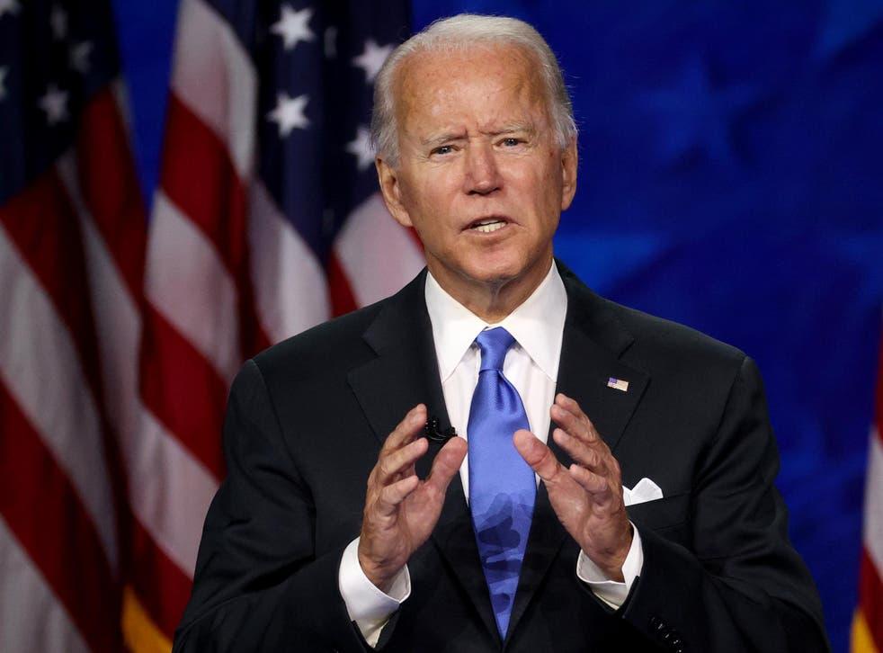 Joe Biden delivering his acceptance speech on the last night of the Democratic National Convention, 20 August, 2020