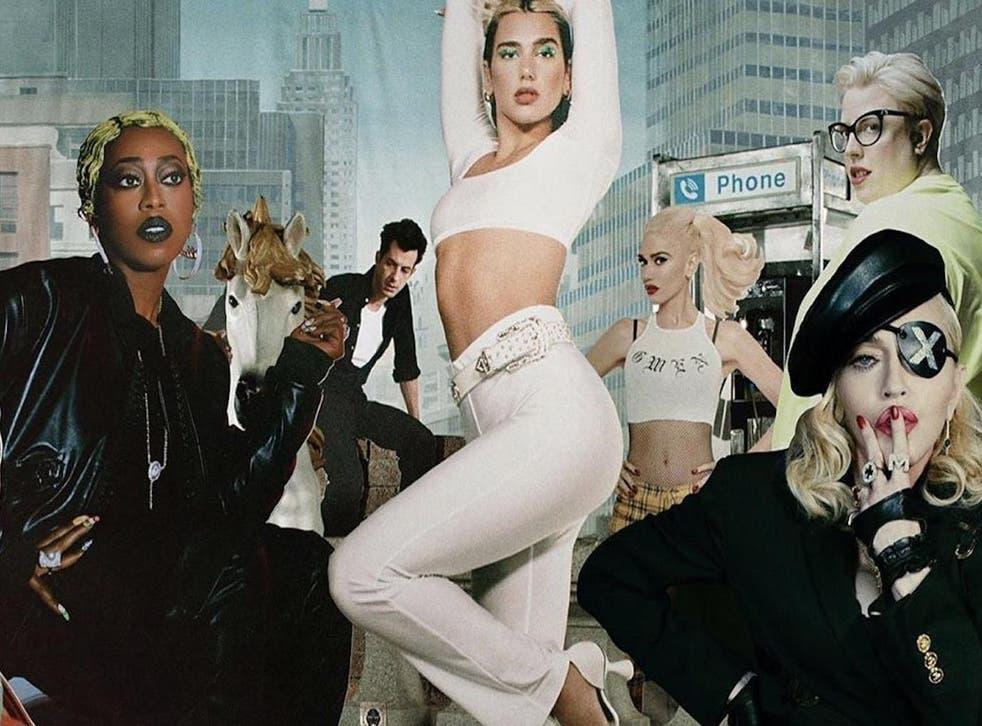 Dua Lipa in artwork for her remix album, Club Future Nostalgia