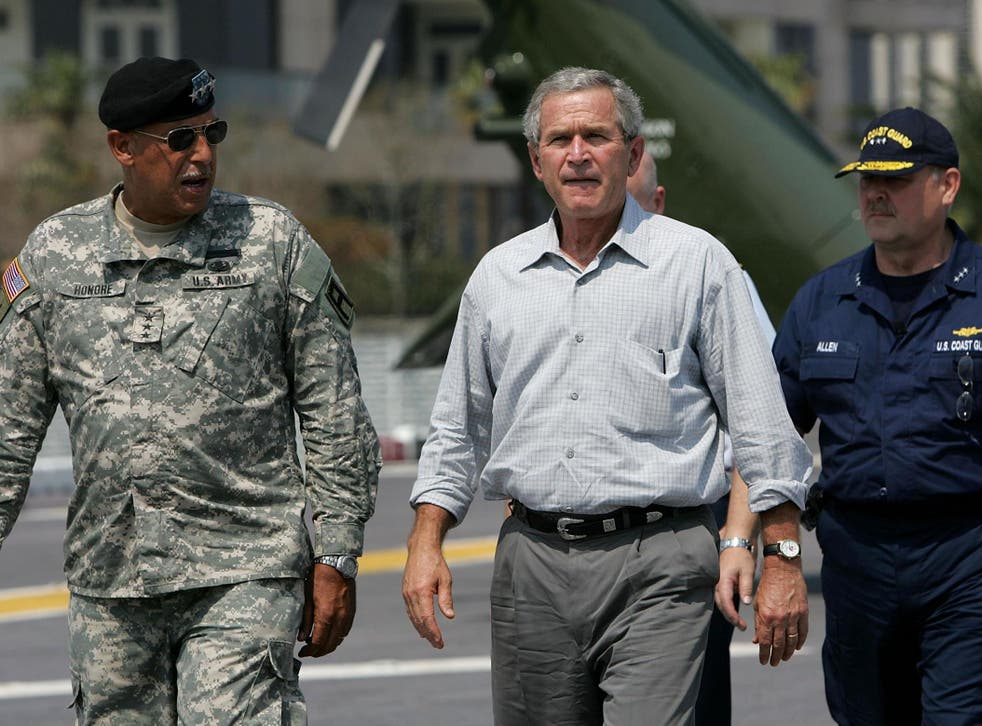 Lt General Russel Honoré with President George W Bush following Hurricane Katrina in 2005