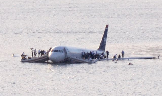 US Airways Flight 1549 after it ditched into the Hudson River on 15 January, 2009, following a bird strike.