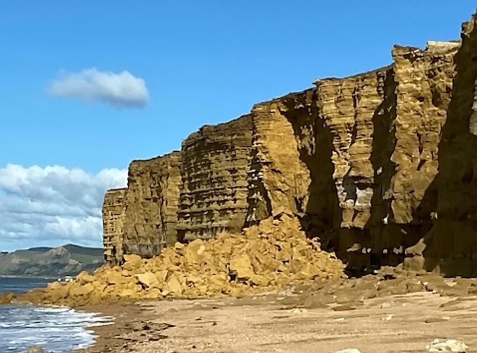 Caída de un acantilado en Hive Beach por Burton Bradstock en la Costa Jurásica de Dorset