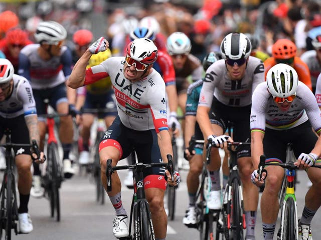 Alexander Kristoff punches the air in celebration after winning stage one of the Tour de France
