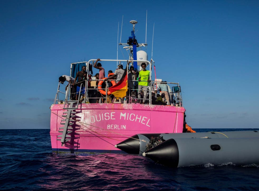 The 'Louise Michel' with people rescued on board in the Mediterranean Sea on Saturday