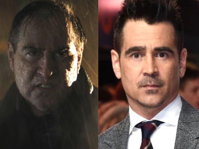 Colin Farrell in his Penguin make-up in 'The Batman', and at a 2019 premiere