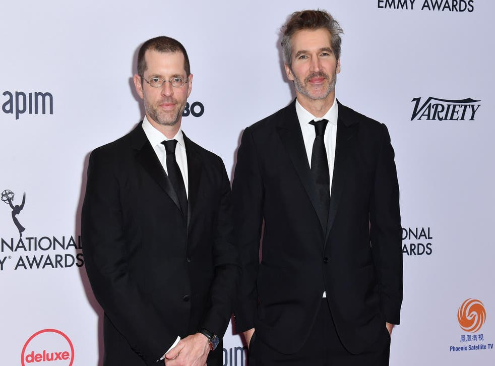 DB Weiss and David Benioff at the Emmy Awards on 25 November 2019.