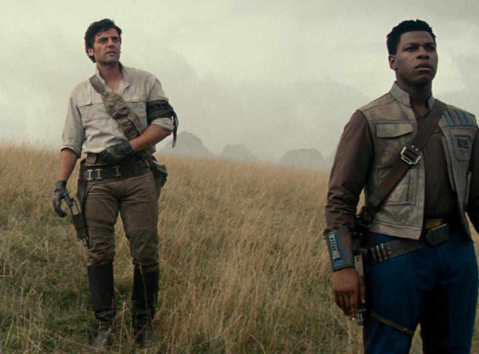 Oscar Isaac (left) and John Boyega (right) as Poe Dameron and Finn in 'Rise of Skywalker'