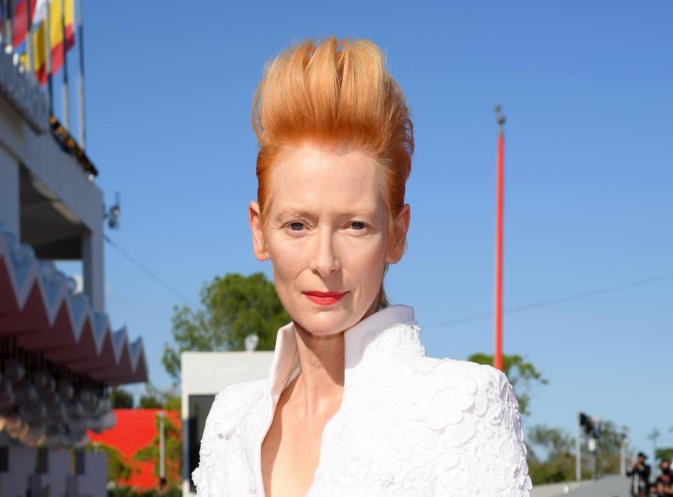 Tilda Swinton at the 77th Venice Film Festival on 3 September 2020 in Venice, Italy.