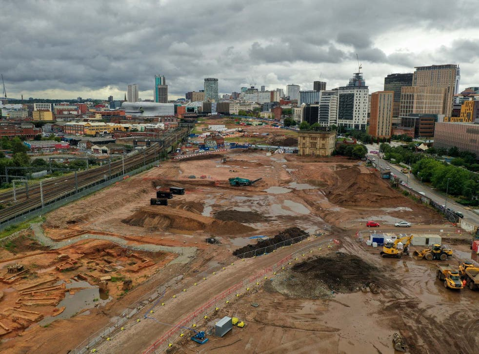 The site of the Birmingham High Speed Rail 2 station construction site at Curzon Street